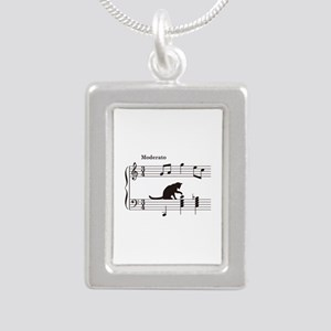 Cat Toying with Note v.2 Silver Portrait Necklace