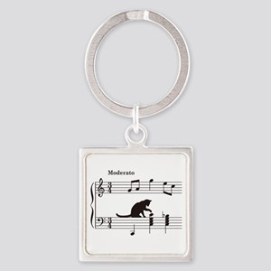 Cat Toying with Note v.2 Square Keychain