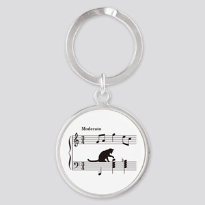 Cat Toying with Note v.2 Round Keychain