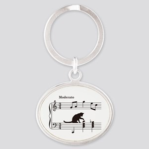 Cat Toying with Note v.2 Oval Keychain