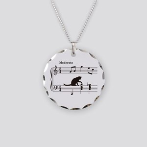 Cat Toying with Note v.2 Necklace Circle Charm