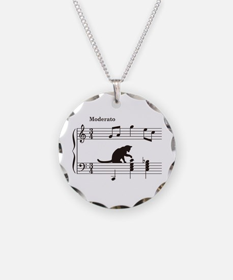 Cat Toying with Note v.2 Necklace