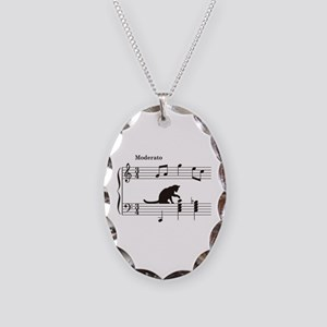 Cat Toying with Note v.2 Necklace Oval Charm