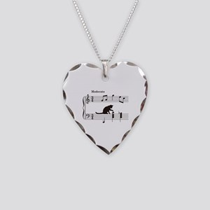 Cat Toying with Note v.2 Necklace Heart Charm