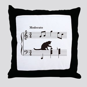 Cat Toying with Note v.2 Throw Pillow