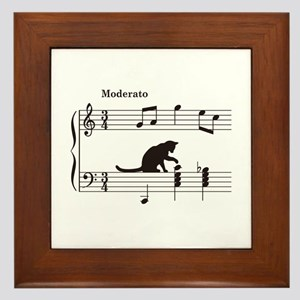 Cat Toying with Note v.2 Framed Tile