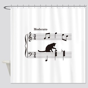 Cat Toying with Note v.2 Shower Curtain