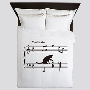 Cat Toying with Note v.2 Queen Duvet