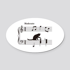 Cat Toying with Note v.2 Oval Car Magnet