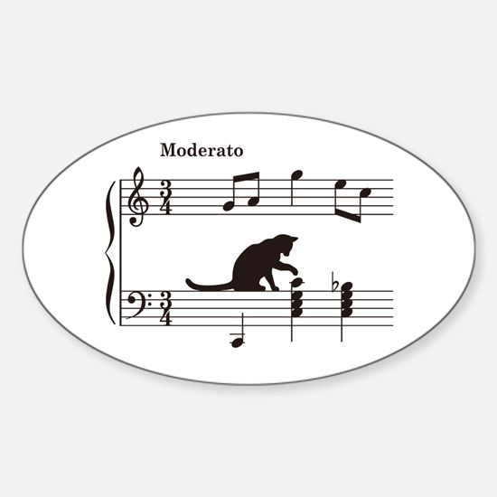 Cat Toying with Note v.2 Sticker (Oval)