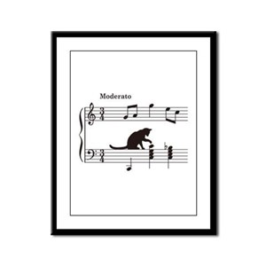 Cat Toying with Note v.2 Framed Panel Print