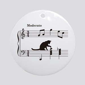 Cat Toying with Note v.2 Ornament (Round)