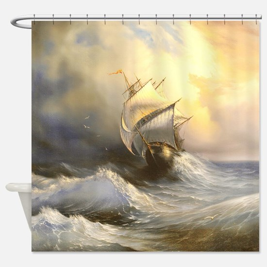 Vintage Sailboat Painting Shower Curtain