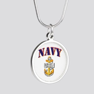 Navy - NAVY - SCPO Silver Round Necklace