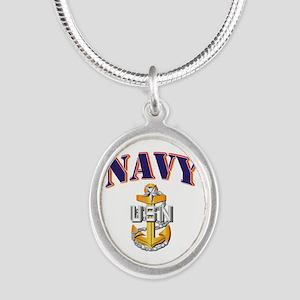 Navy - NAVY - SCPO Silver Oval Necklace