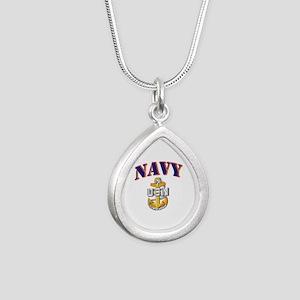 Navy - NAVY - SCPO Silver Teardrop Necklace