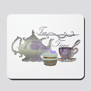 Tea Time Lilac Tea Set and Cupcake Mousepad
