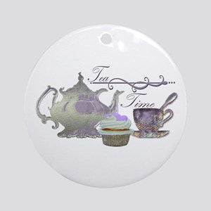 Tea Time Lilac Tea Set and Cupcake Ornament (Round
