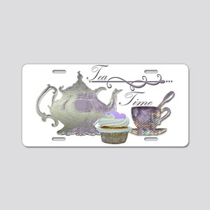 Tea Time Lilac Tea Set and Cupcake Aluminum Licens