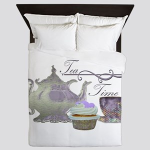 Tea Time Lilac Tea Set and Cupcake Queen Duvet