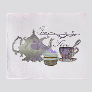 Tea Time Lilac Tea Set and Cupcake Throw Blanket