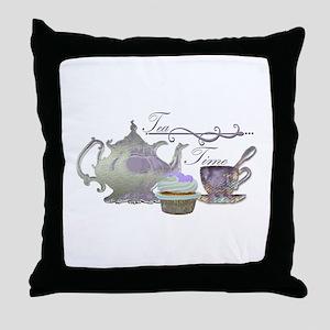 Tea Time Lilac Tea Set and Cupcake Throw Pillow