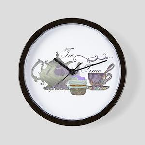 Tea Time Lilac Tea Set and Cupcake Wall Clock