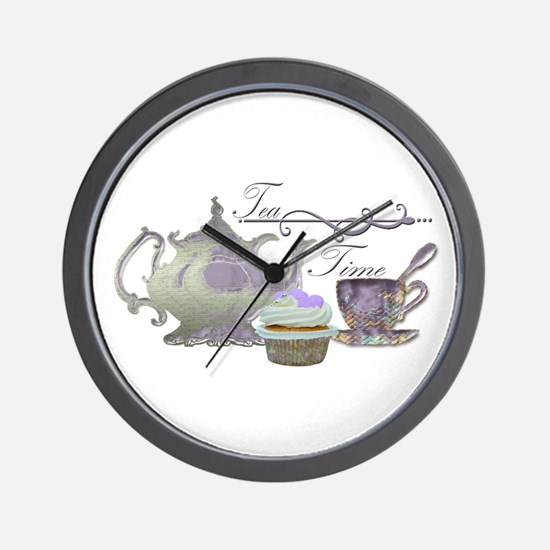 Tea Time Lilac Tea Set and Cupcake Wall Clock