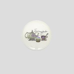 Tea Time Lilac Tea Set and Cupcake Mini Button