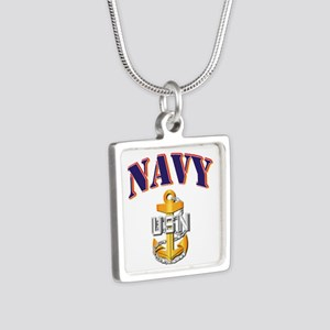 Navy - NAVY - CPO Silver Square Necklace