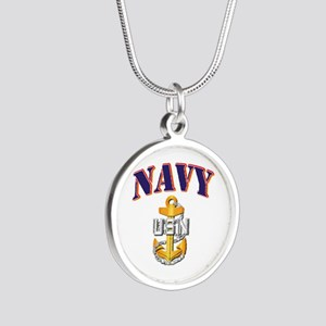 Navy - NAVY - CPO Silver Round Necklace