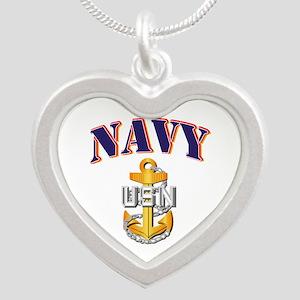 Navy - NAVY - CPO Silver Heart Necklace