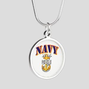 Navy - NAVY - MCPO Silver Round Necklace