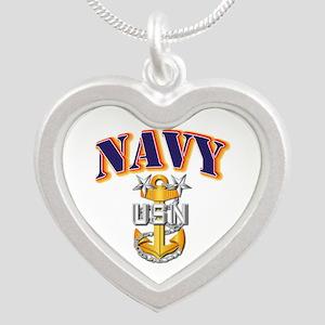 Navy - NAVY - MCPO Silver Heart Necklace