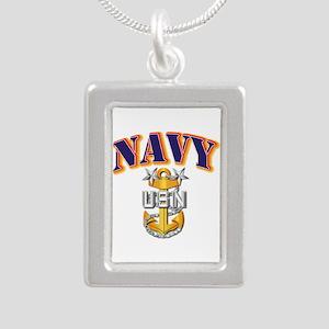 Navy - NAVY - MCPO Silver Portrait Necklace