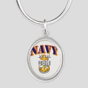 Navy - NAVY - MCPO Silver Oval Necklace