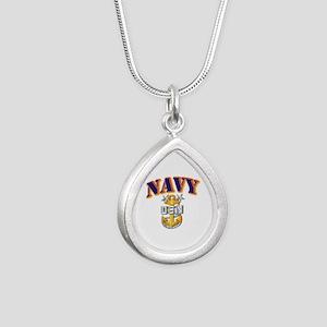 Navy - NAVY - MCPO Silver Teardrop Necklace