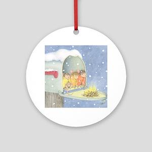 Warm, snowy snuggle Ornament (Round)