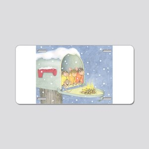 Warm, snowy snuggle Aluminum License Plate