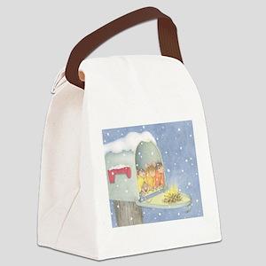 Warm, snowy snuggle Canvas Lunch Bag