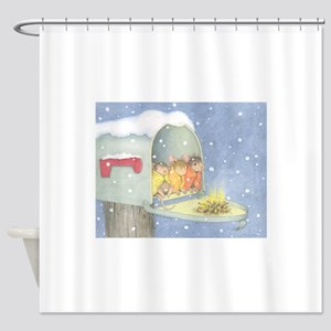 Warm, snowy snuggle Shower Curtain