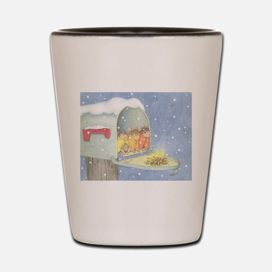 Warm, snowy snuggle Shot Glass