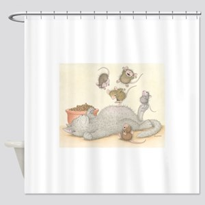 Kitty Trampoline Shower Curtain