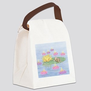 Lily Pad Snooze Canvas Lunch Bag