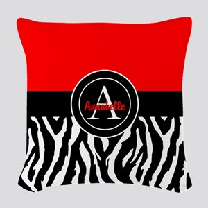Red Zebra Woven Throw Pillow
