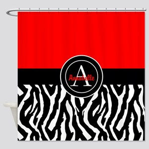 Red Zebra Shower Curtain