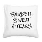 BarbellSweatTears Square Canvas Pillow