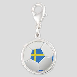Soccer Sweden Silver Round Charm
