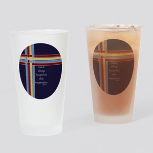 Philippians 4 13 Ribbons Blue Drinking Glass