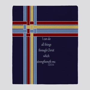 Philippians 4 13 Ribbons Blue Throw Blanket